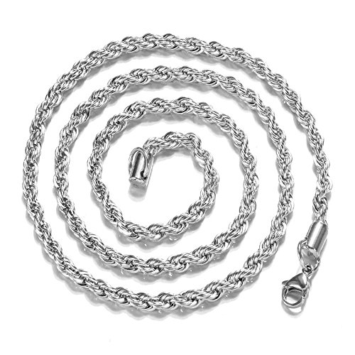 Onefa Hip Hop Women's 3mm Gold Stainless Steel Link Necklace Fashion Jewelry Chain Necklace -