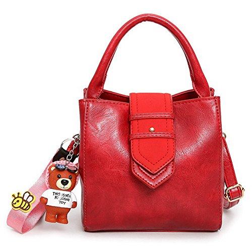 AgooLar Mujeres PU Tachonado Moda Casual Bolsos Cruzados Bolsas de Hombro,GMXBB180645 Rojo