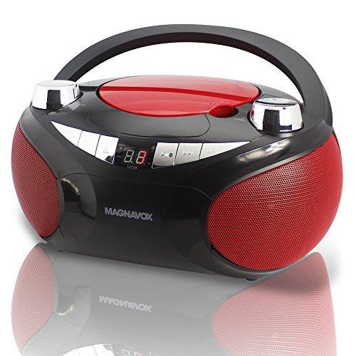 Magnavox MD6949 CD Boombox with AM/FM Radio & Bluetooth Wireless Technology - Red / black