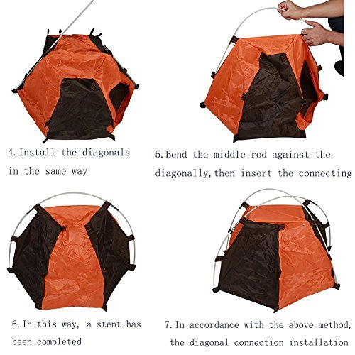 Pet House Folding Cat Dog House Portable Waterproof Pet Tent Indoor & Outdoor Small Animals Shelter Lovely for Small Dog and Cat by ZMVA (Image #5)