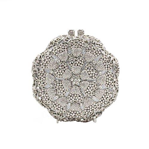 Diamants De Sac Soirée De De Sac Fleurs Femmes De Luxe Main à Silver Cristal TwZqTd