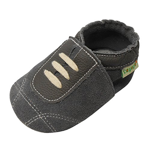 Sayoyo Baby Sneakers Leather Baby Shoes Crib Shoes Toddler Soft Sole Sneakers (12-18 Months, Suede Grey) (Soft Leather Boys)