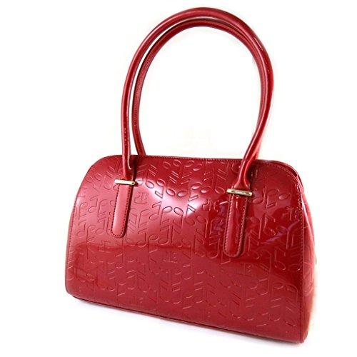 Bolsa de cuero 'Jacques Esterel'de color rojo esmalte de notas musicales.