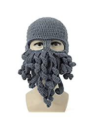 Neevas Unisex Octopus Winter Warm Knitted Wool Ski Face Mask Squid Cap Beanie