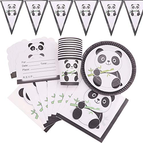 90pcs/lot New Panda Happy Bithday Party Decorations Cup Plate Napkins Straws For Kids Disposable Tableware Sets For Wedding Decoration Baby Shower -