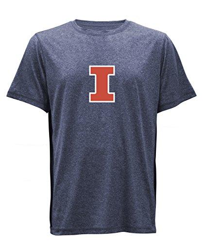 (NCAA Illinois Illini Compass Men's Paneled Short Sleeved Tee, Admiral Heather, X-Large)