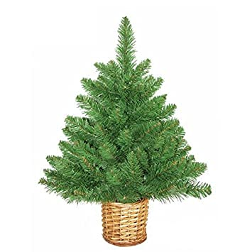 Mini Artificial Christmas Tree with Wicker Basket 2ft/60cm: Amazon ...