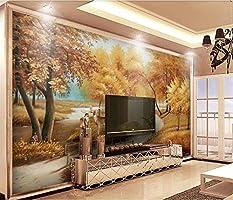Z_PDG Mural 3D Murales de papel tapiz 3D Gold Autumn Deer Swan ...