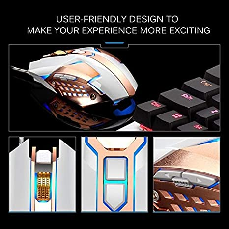Length 1.5m CAOMING T03 USB 3200DPI Four-Speed Adjustable Custom Macro Light Wired Optical E-Sport Gaming Mouse Color : Bronze