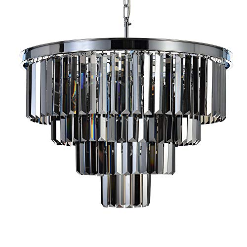 "MEELIGHTING W23.6"" Luxury Chrome Crystal Modern Contemporary Chandeliers Pendant Ceiling Light 4-Tier Chandelier Lighting for Dining Room Living Room Bedroom Girls Room 9 Lights, Smoke"