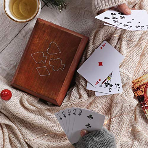 Playing Card Holder Wooden Decorative Playing Cards Storage Box / Playing Cards Holder Box Game Case with 2 Decks of Card Free (Ace Collection)
