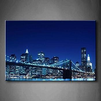 Amazon Com First Wall Art Blue Brooklyn Bridge And