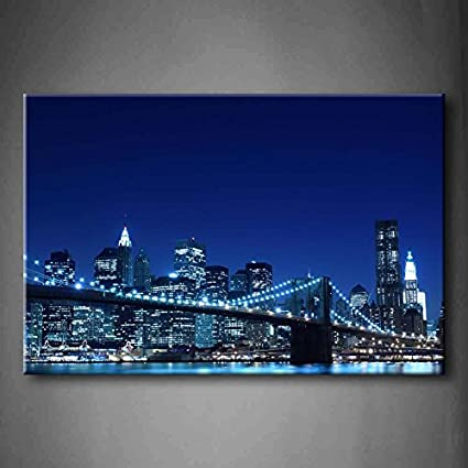 amazon first wall art blue brooklyn bridge and manhattan