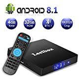 Android 8.1 TV Box, Leelbox Q4 S Android Box Quad Core with 2.4GHz Voice Remote Control, 4GB RAM 32GB ROM RK3328 Quad-core, Support BT 4.1/WiFi/3D/4K/H.265