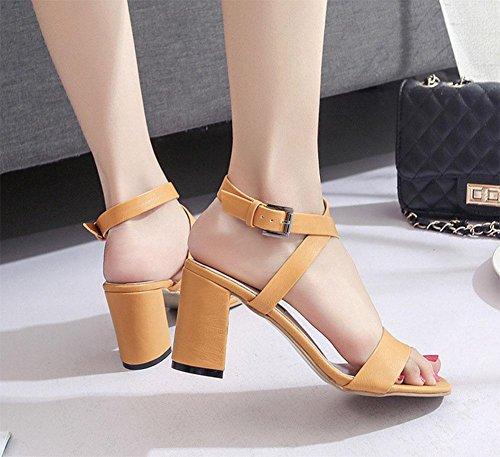 con tacchi cava croce fibbia Yellow scarpe selvatici parola sandali aperti femminile spessi E0YxtBqw