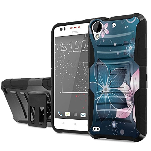 [Cricket] HTC Desire 550/555 Phone Case [NakedShield] [Black/Black] Heavy Duty Armor [Holster with Kickstand] - [Midnight Flower] for [Cricket] HTC Desire 550/555