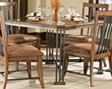 "POWELL - Valencia ""Warm Brown"" and ""Gunmetal Charcoal"" Dining Table with inset glass top - Item 897-471"