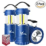 LED Camping Lantern - Collapsible LED Camping Lantern Combo with Flash Light, Ultra Bright 300 Lumens COB Lighting Source Great for Hurricanes, Emergency, Hiking, Portable Battery Powered Camping Lights (2-Pcs, Blue)