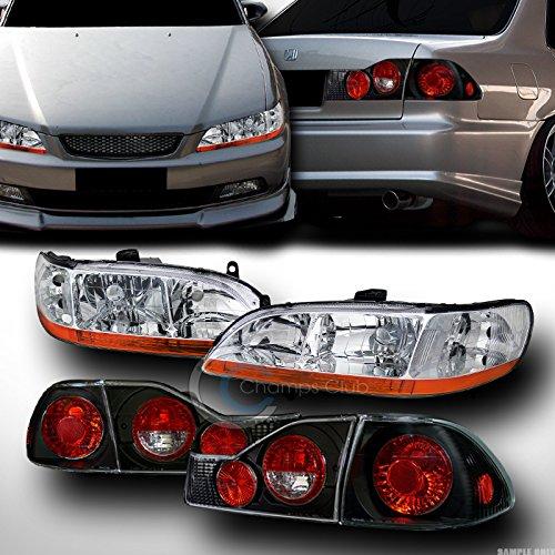 - AutobotUSA CHROME HEAD LIGHTS AMBER V2 DY+ALTEZZA TAIL BRAKE LAMPS BLK KS 98-00 ACCORD 4DR