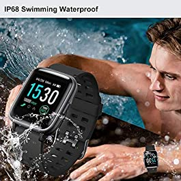 YAMAY Smart Watch for Android and iOS Phone IP68 Waterproof, Fitness Tracker Watch with Heart Rate Monitor Step Sleep…