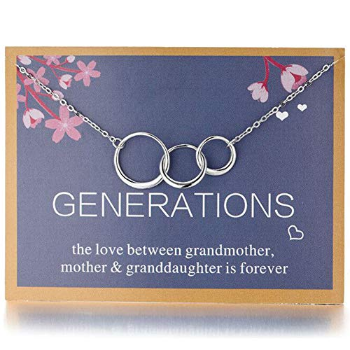 Amelery Grandma Necklace Generations 3 Interlocking Pendants Grandmother Infinity Circles for Mom Granddaughter Birthday Gifts for Women Girls