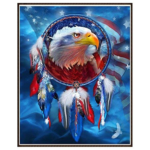 DIY 5D Diamond Painting by Number Kits, Crystal Rhinestone Diamond Embroidery Paintings Pictures Arts Craft for Home Wall Decor (Eagle)