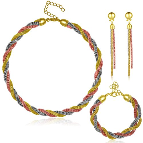 Moochi Africa Style Gold Plated Mixed Twisted Colors Tassel Necklace Earrings Bracelet Ring Jewelry Set by Moochi