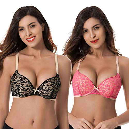 (Curve Muse Womens Plus Size Perfect Shape Add 1 Cup Push Up Underwire Lace Bras-2PK-DK)