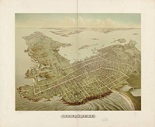 Wall Art Print entitled Vintage Pictorial Map Of Newport RI