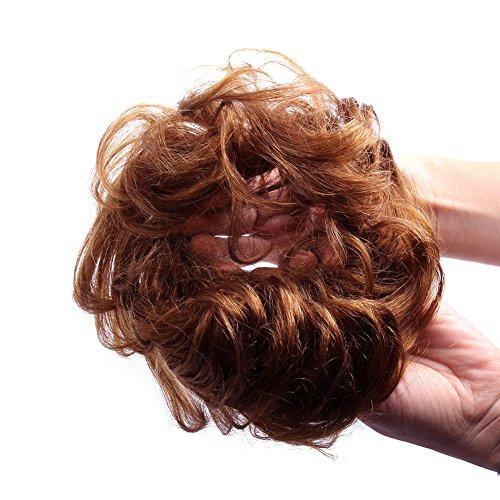 Bun Hair Extension (Bella Hair 100% Human Hair Scrunchie Bun Up Do Hair Pieces Wavy Curly or Messy Ponytail Extension (#30 Medium Auburn / Red Brown))