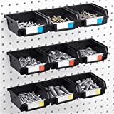 Pegboard Bins - 9 Pack - Hooks to 1/4'' or 1/8'' Hole Peg Board - Organize Hardware, Accessories, Attachments, Workbench, Garage Storage, Craft Room, Tool Shed, Hobby Supplies, Small Parts