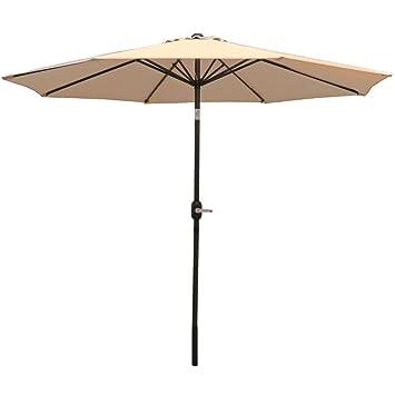 Sunnydaze Beige Aluminum 9 Foot Patio Umbrella With Tilt U0026 Crank
