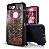 iPhone 8 Plus Case,iPhone 7 Plus Case with Built-in Screen Protector,Vodico Camo Heavy Duty Defender Shockproof High Impact Resistant Full Body Cover with Belt Clip Holster&Kickstand (Xtra Rose)