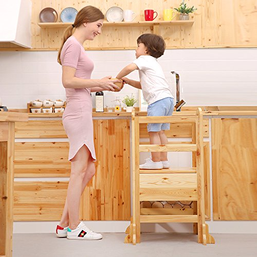 UNICOO- Height Adjustable Kids Learning Stool, Kids Kitchen Step Stool, Toddler Stool with Safety Rail-Solid Hardwood Construction. Perfect for Toddlers (Burlywood-02) by UNICOO (Image #1)