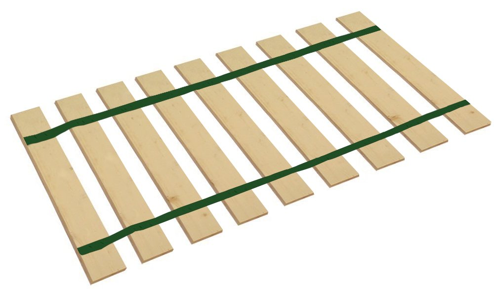 The Furniture Cove Queen Size Bed Slats Platform Bunkie Boards Custom Width with Dark Green Straps-Help Support Your Box Spring and Mattress-Made in The U.S.A.! (61'' Wide) by The Furniture Cove