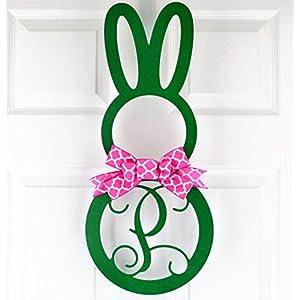 Easter Bunny Monogram Door Hanger with Bow; Emerald Green & Fuchsia Pink 15