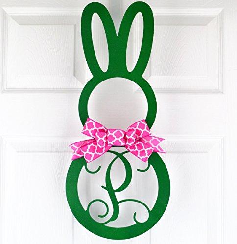 Easter Bunny Monogram Door Hanger with Bow; Emerald Green & Fuchsia Pink