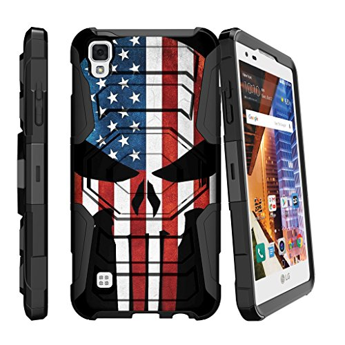 Case for LG Tribute HD, Volt 3 Case[Armor Reloaded] Shockproof Hybrid Kickstand Case for X-Style with Kickstand and Holster by MINITURTLE - American Flag Skull