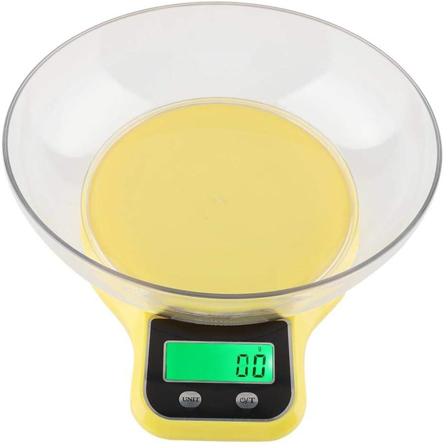 𝐑𝐞𝐠𝐚𝐥𝐨 𝐝𝐞 𝐍𝐚𝒗𝐢𝐝𝐚𝐝 Báscula de cocina digital, WH-B21LW Báscula de cocina de cocina Báscula de peso multifunción de cocina digital con tazón(Amarillo)
