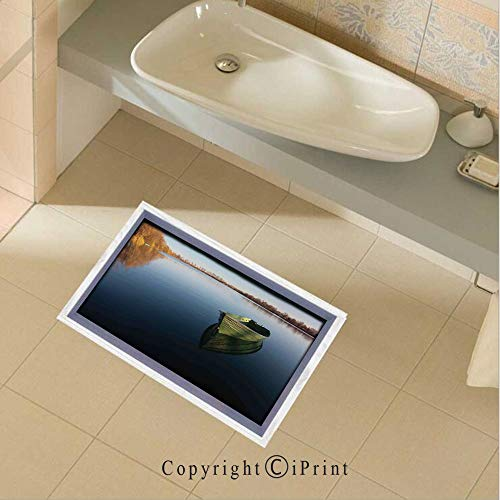 (Removable DIY Floor Stickers Decor Single Fishing Boat on the Lake Being Alone Theme in Still Calm Waters Life Artprint for Home Walls Floor Ceiling Kids Nursery Room Boy Girls Bedroom Bathroom Livin)