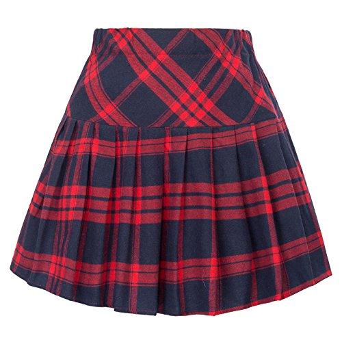 Women's Check Print Mini Skater Skirt Elastic Waist School Girl Outfit