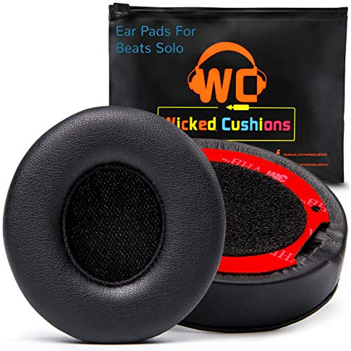 (New Version) Premium Replacement Ear Pads for Beats Solo 2 & 3 Wireless by Wicked Cushions Adaptive Memory Foam - Thicker Than The Originals - Easy to Apply | Black (Solo Foam)
