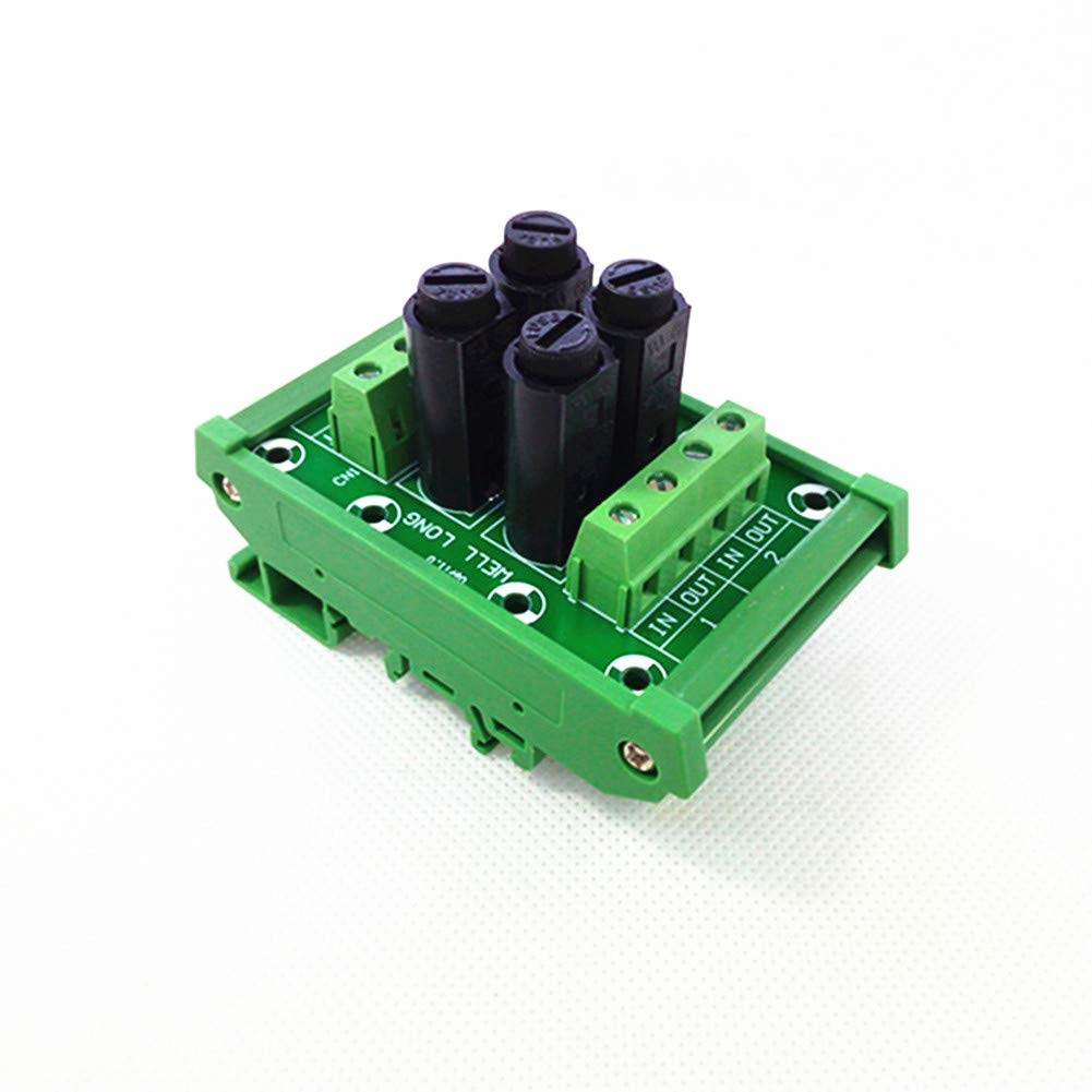 Fuse Module,DIN Rail Mount 4 Channel Fuse Power Distribution Module Board.