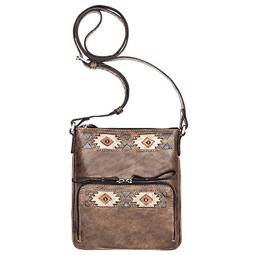 AMERICAN WEST LEATHER NATIVE SUN CROSSBODY BAG WALLET HANDBAG BROWN TURQUOISE by American West