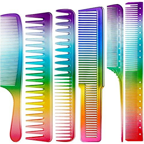 6 Pieces Rainbow Hair Comb Rainbow Color Hair Dressing Comb Fine Teeth Hair Combs Rat Tail Hair Combs Hair Cutting Comb for Salon Hair Care Hairdressing Styling Tools Accessories