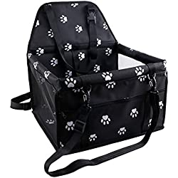 Petbobi Reinforce Pet Car Booster Seat for Dog Cat Portable and Breathable Bag with Seat Belt Cute Footprint Style Dog Carrier Safety Stable for Travel Look Out,with Clip on Leash and Storage Pockage