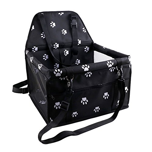 (Petbobi Reinforce Pet Car Booster Seat for Dog Cat Portable and Breathable Bag with Seat Belt Cute Footprint Style Dog Carrier Safety Stable for Travel Look Out,with Clip on Leash)