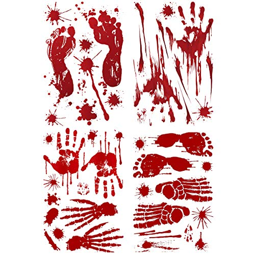 Best Halloween Costume Ideas Diy (VIIRY Bloody Footprints Floor Clings - Handprints Door Window Clings Decals Horror Zombie Vampire for Kids Halloween Party Decorations Supplies(4)