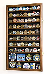 sfDisplay.com, Factory Direct Display Cases L Military Challenge Coin Display Case Cabinet Rack Holder Stand Box w/UV Protection, Walnut Finish by sfDisplay.com, LLC.