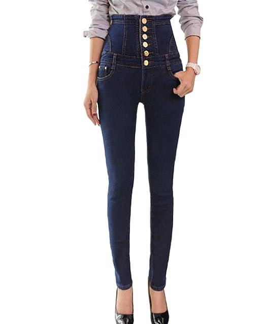 Sentao Vintage Pantalones Vaqueros Cintura Alta Pantalones ...